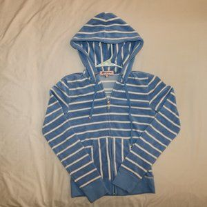 Juicy Couture Blue White Striped Hoodie Sweater